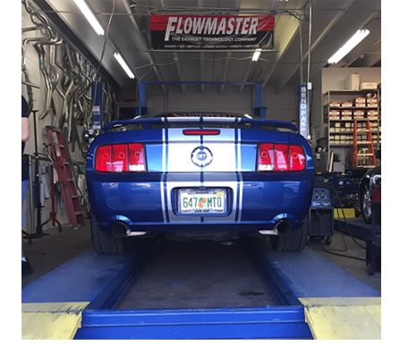 Dual Exhaust Mustang on the Rack